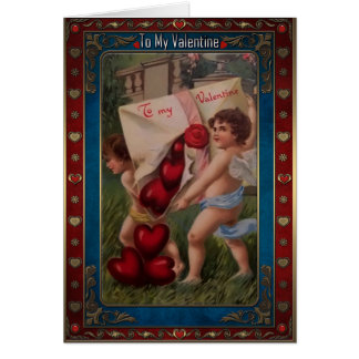 Cupids holding an envelope with hearts. greeting card
