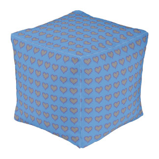 Curly Heart Silver on Blue Cubed Pouf