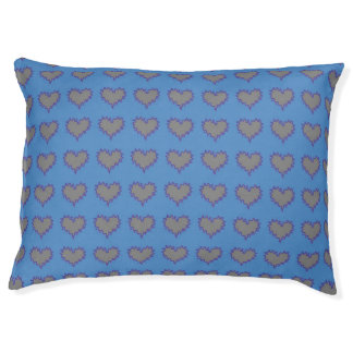 Curly Heart Silver on Blue Pet Dog Bed