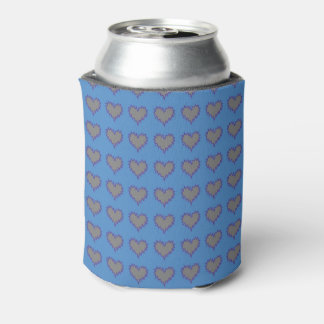 Curly Heart Silver on Blue Soda Can Cooler