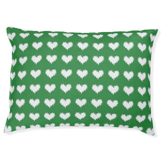 Curly Heart White on Green Dog Bed