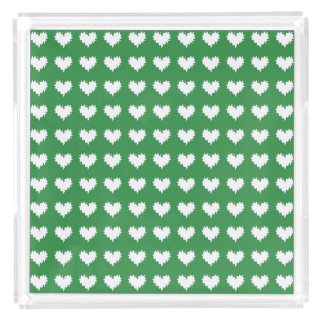 Curly Heart White on Green Perfume Tray