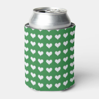 Curly Heart White on Green Soda Can Cooler