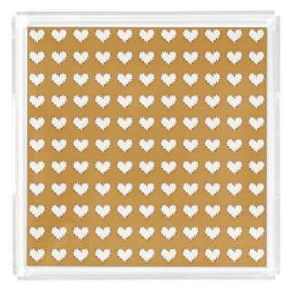 Curly Heart White on Mustard Perfume Tray