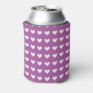 Curly Heart White on Purple Can Cooler