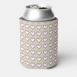 Curly Heart White on Taupe Soda Can Cooler