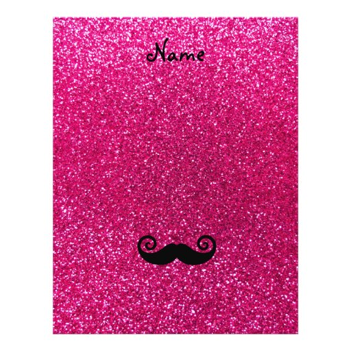 Curly mustache neon hot pink glitter flyers