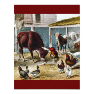 Currier and Ives Barnyard 11 Cm X 14 Cm Invitation Card