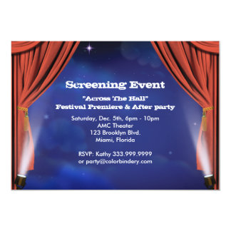 "Curtain Call 7"" x 5"" Event Invitation"