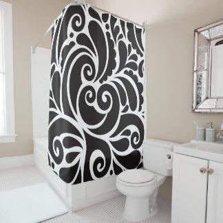 Curtain of Bath Black Ornamet Shower Curtain