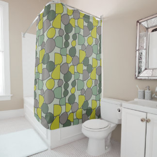 Curtain of Bath Green and Gray Stones Shower Curtain
