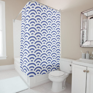 Curtain of Blue Bath Shell Shower Curtain