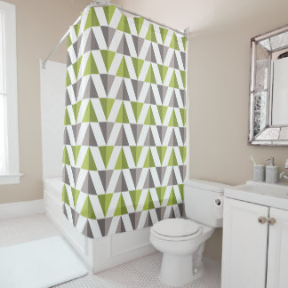 Curtain of Gray Bath Triangles and Verde Shower Curtain