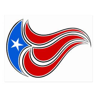 Curvy Puerto Rico Flag Design Postcard
