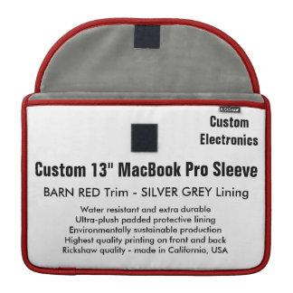 "Custom 13"" MacBook Pro Sleeve - Barn Red & Silver"