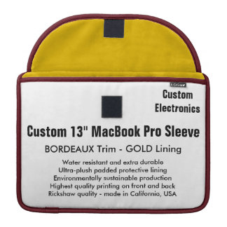 "Custom 13"" MacBook Pro Sleeve - Bordeaux & Gold"