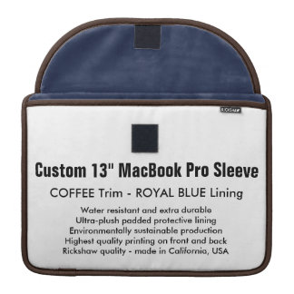 "Custom 13"" MacBook Pro Sleeve - Coffee & Blue"