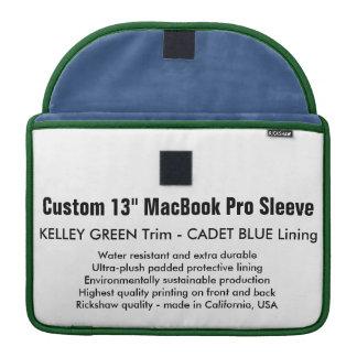 "Custom 13"" MacBook Pro Sleeve - Green & Cadet Blue"