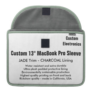 "Custom 13"" MacBook Pro Sleeve - Jade & Charcoal"