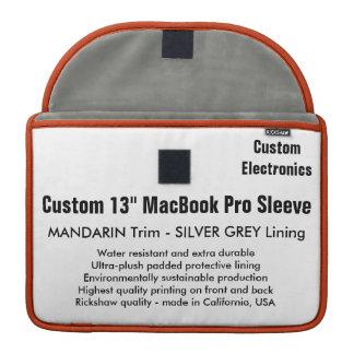 "Custom 13"" MacBook Pro Sleeve - Mandarin & Silver"