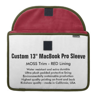 "Custom 13"" MacBook Pro Sleeve - Moss & Red"