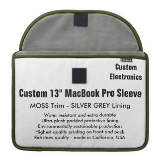 "Custom 13"" MacBook Pro Sleeve - Moss & Silver"