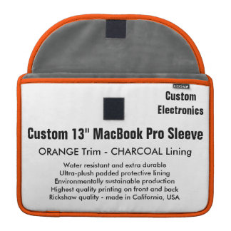 "Custom 13"" MacBook Pro Sleeve - Orange & Gray"
