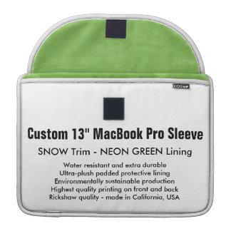 "Custom 13"" MacBook Pro Sleeve - Snow & Neon Green"