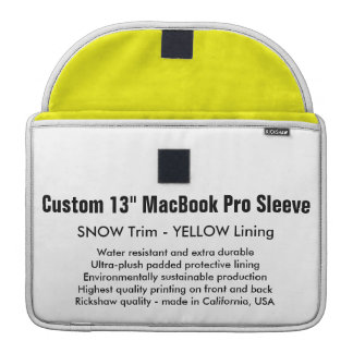 "Custom 13"" MacBook Pro Sleeve - Snow & Yellow"