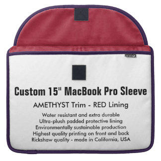 """Custom 15"""" MacBook Pro Sleeve - Amethyst & Red"""