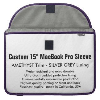 "Custom 15"" MacBook Pro Sleeve - Amethyst & S. Grey"