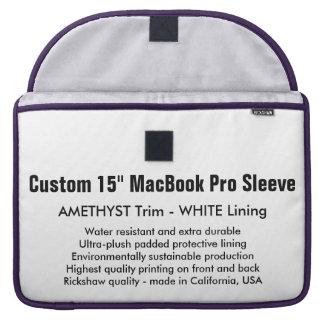 "Custom 15"" MacBook Pro Sleeve - Amethyst & White"