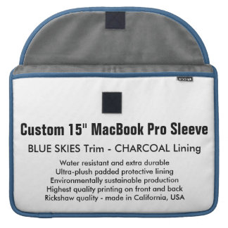 "Custom 15"" MacBook Pro Sleeve - Blue & Charcoal"