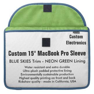 "Custom 15"" MacBook Pro Sleeve - Blue & Neon Green"