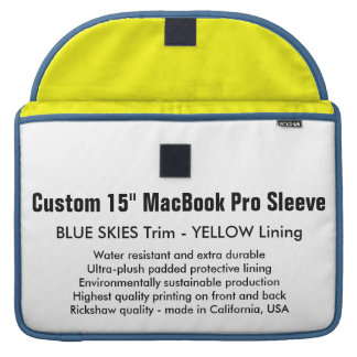 "Custom 15"" MacBook Pro Sleeve - Blue & Yellow"
