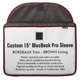 """Custom 15"""" MacBook Pro Sleeve - Bordeaux & Brown"""