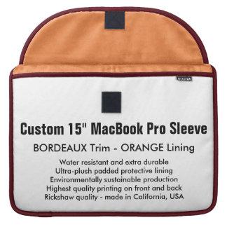 "Custom 15"" MacBook Pro Sleeve - Bordeaux & Orange"