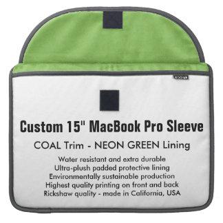 """Custom 15"""" MacBook Pro Sleeve - Coal & Neon Green"""