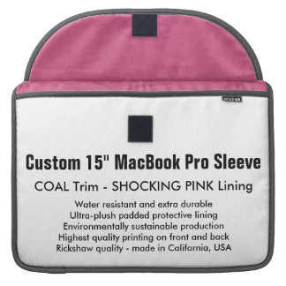 "Custom 15"" MacBook Pro Sleeve - Coal & Pink"