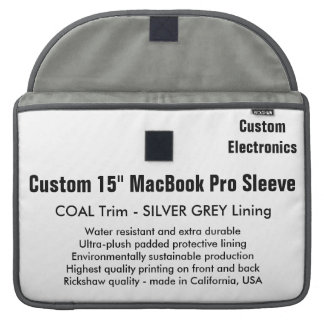 "Custom 15"" MacBook Pro Sleeve - Coal & Silver Grey"