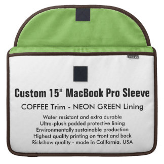"Custom 15"" MacBook Pro Sleeve - Coffee & Green"