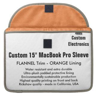 "Custom 15"" MacBook Pro Sleeve - Flannel & Orange"
