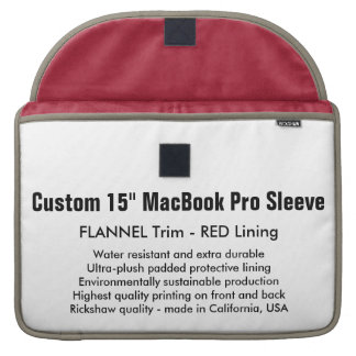 "Custom 15"" MacBook Pro Sleeve - Flannel & Red"