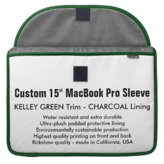 "Custom 15"" MacBook Pro Sleeve - Green & Charcoal"