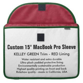"Custom 15"" MacBook Pro Sleeve - Green & Red"