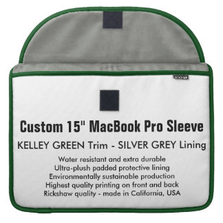"Custom 15"" MacBook Pro Sleeve - Green & Silver"