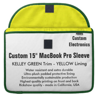 "Custom 15"" MacBook Pro Sleeve - Green & Yellow"