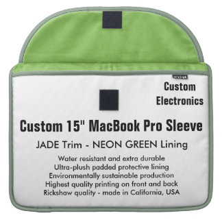 "Custom 15"" MacBook Pro Sleeve - Jade & Neon Green"
