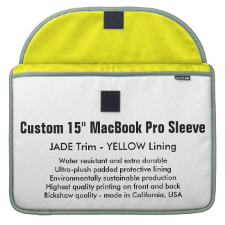 "Custom 15"" MacBook Pro Sleeve - Jade & Yellow"