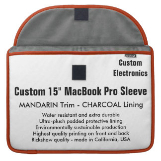 "Custom 15"" MacBook Pro Sleeve - Mandarin & Gray"